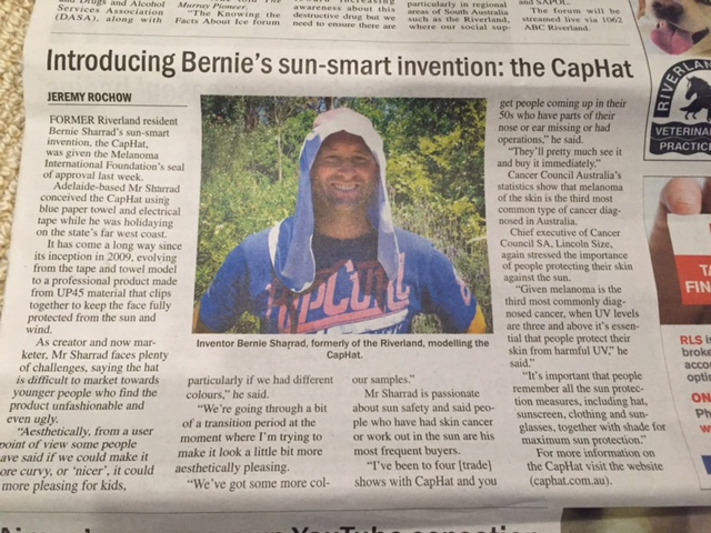 CapHat featured in the Murray Pioneer newspaper - Tuesday 21 July 2015